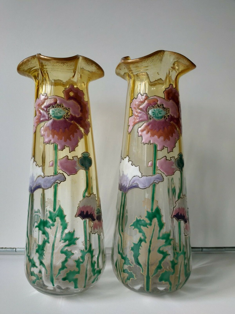 Lovely pair of art nouveau Montjoye / Legras vases with thick enamelling of flowers. Ca 1910.