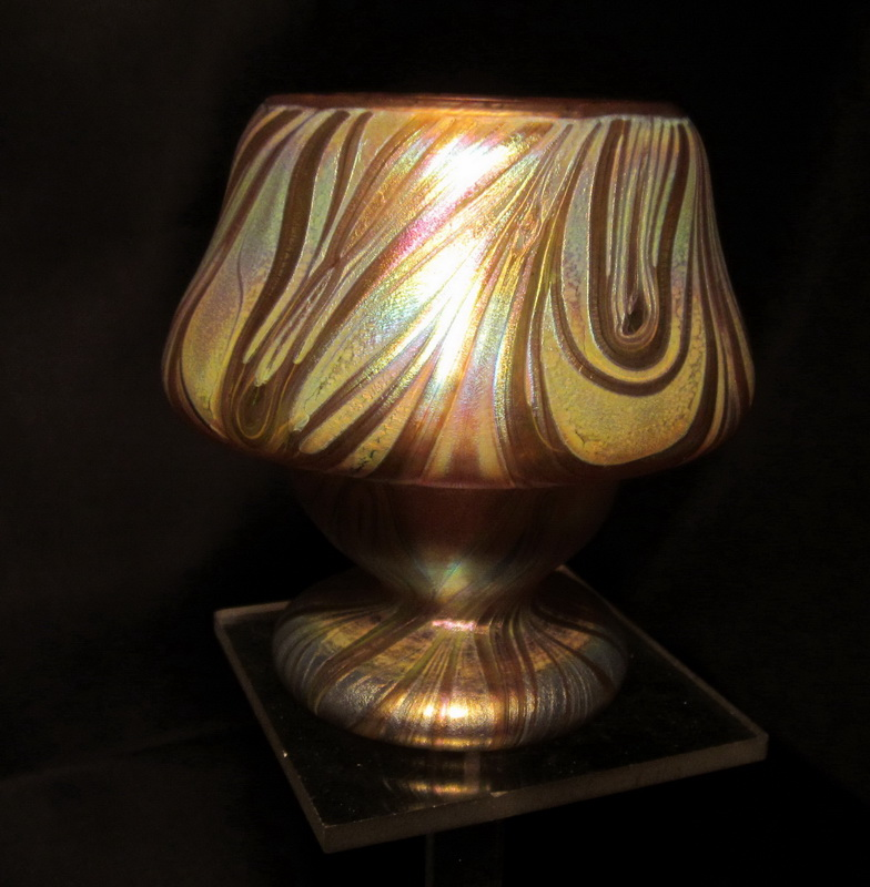 rare Loetz art nouveau vase; amber - chestnut ground with combed silver yellow threads.