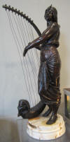 "French bronze ""Tahoser"" by George COUDRAY , Egyptian lady playing the harp. ca 1895. Height 80 cm"