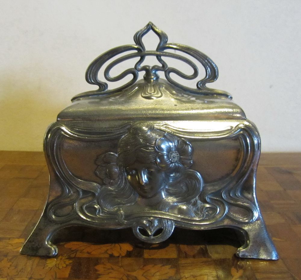 rare antique art nouveau silver plated pewter jewelry box by WMF. ca 1900