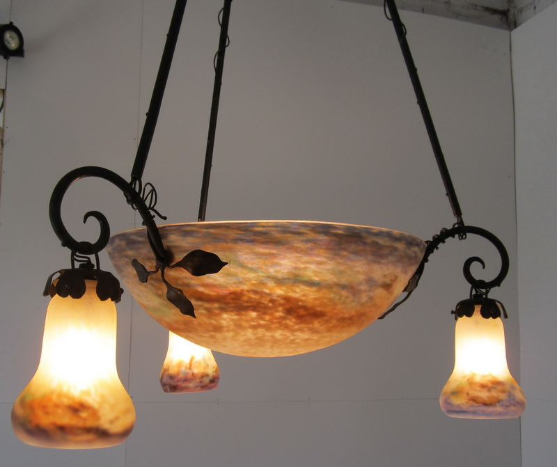 French art nouveau ceiling light in pate de verre, early 1900, signed Muller Frères Luneville.