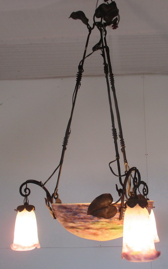 art deco wrought iron Muller Frères chandelier with pate de verre bowl & three shades.