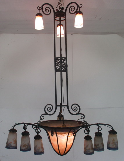Incredibly large sized art deco wrought iron Muller chandelier with  BIG SIZE pate de verre bowl & 12 shades