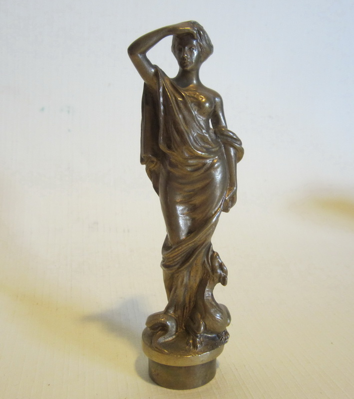 Antique bronze wax seal, gilt bronze lady with dragon at her feet